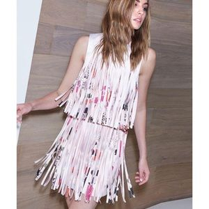 Alexis Pink Eleanor Printed Fringe Cocktail Dress